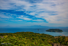 錦江湾と知林ガ島を望む