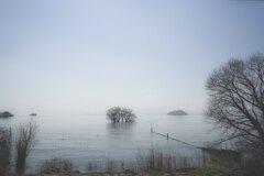 薄霧の琵琶湖