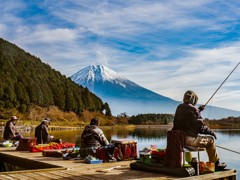 田貫湖の太公望と富士