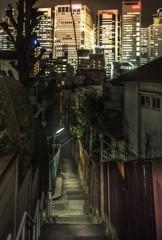 高輪裏路地の階段から望む品川高層ビル群