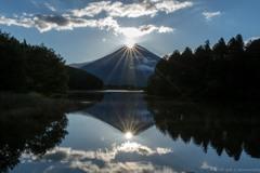 田貫湖のデッキから