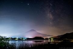 梅雨の富士と銀河の夜空