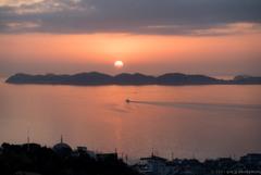 西浦半島と夕陽