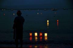 宮津湾燈篭流し