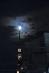 スカイツリーの上にお月様^_−☆