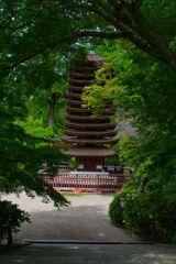 深緑の談山神社~十三重塔