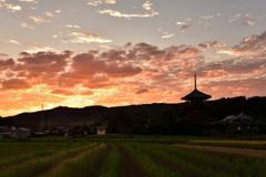 斑鳩の夕景~法起寺