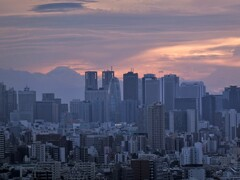 新宿摩天楼と富士山