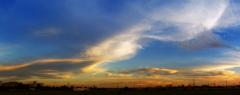 夏の夕景 パノラマ写真
