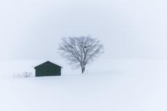 雪の中の小屋