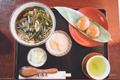 山菜そば+くるみおはぎ