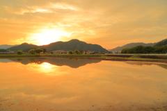 夕日に染まる田園