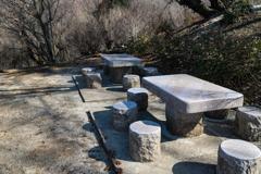 石のベンチかな