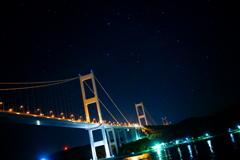来島海峡大橋と星空