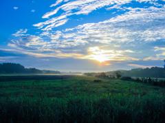 大空と朝靄の中で