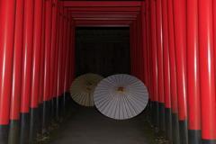 ミニ千本鳥居と和傘
