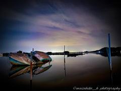 スマホで夜の西の湖