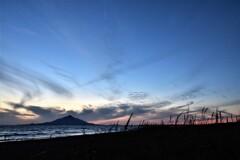 利尻山、秋の夕暮れ