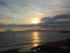 開聞岳と夕陽