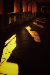 廊下に落ちる影
