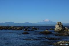 名島の鳥居と富士山