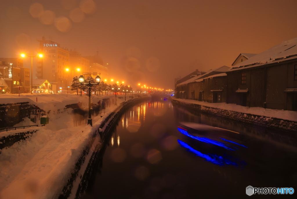猛吹雪の小樽運河~クリスマスイブ~