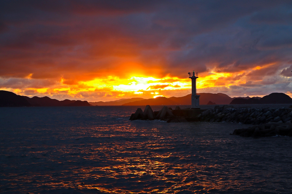 Lighthouse at a fishing port