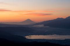 高ボッチ山頂からの朝焼け