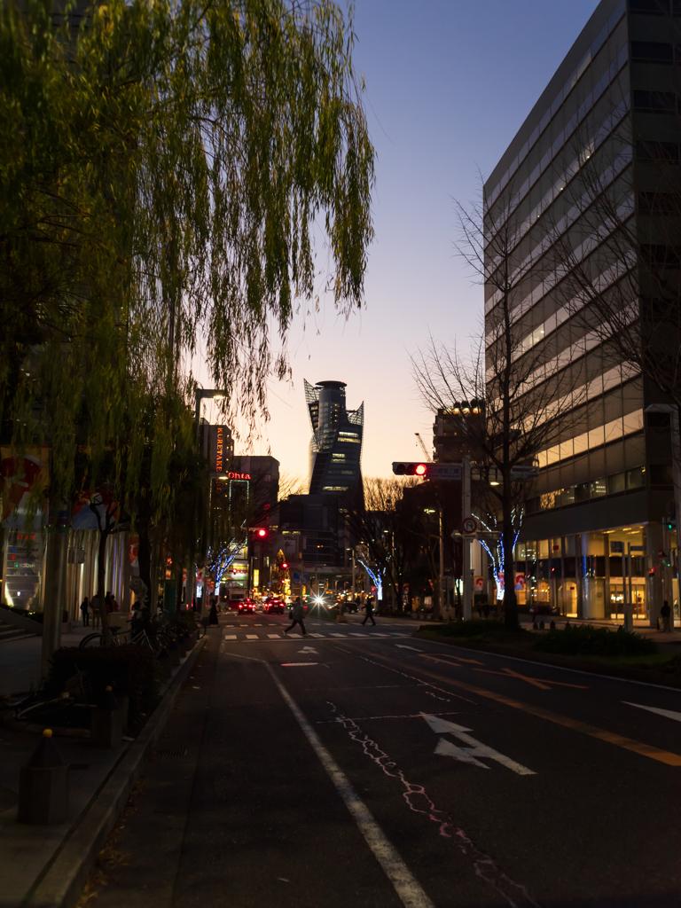 夕暮れ車道