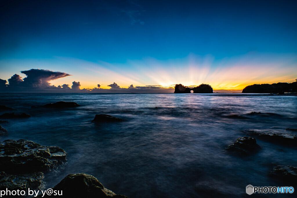 円月島の夕景
