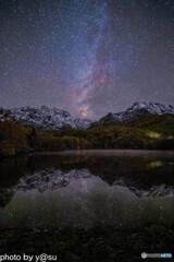 鏡池の星空と紅葉(再現像)