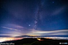 雲海とペルセウス座流星群