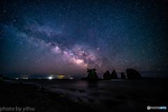 蓑掛岩の星空