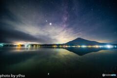 山中湖からの富士と天の川
