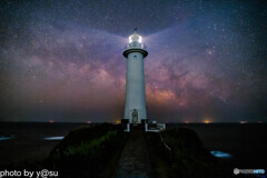 爪木崎灯台と夏の天の川