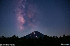 夏の天の川と夏の富士