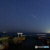 神磯の鳥居とペルセウス座流星群