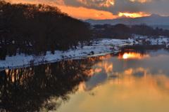 雪の入間川夕景ーⅠ