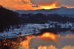 雪の入間川夕景ーⅡ