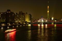 東京スカイツリーへ[清洲橋夜景]
