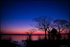 霞ヶ浦の夜明け
