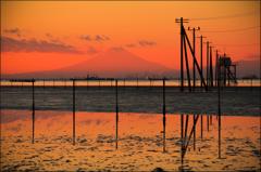 東京湾の夕暮れ