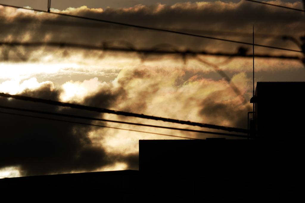 街から見上げる夕空