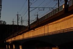 朝の橋梁に橋梁の影