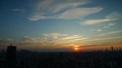 都心の日没