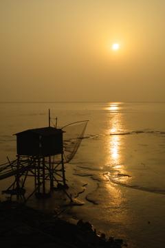 のどかな有明海の朝