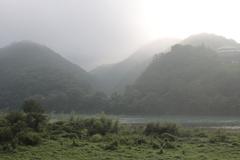 朝霧と日の出