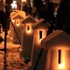 雪灯篭と三脚