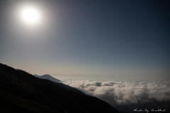 星月夜 湧きたつ雲海 茶臼岳