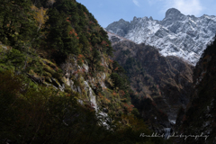 晩秋の頃、冠雪の滝谷